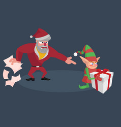 angry santa screams at the little elf with a gift vector image vector image