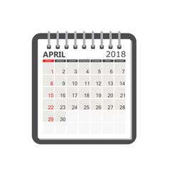 april 2018 calendar calendar notebook page vector image