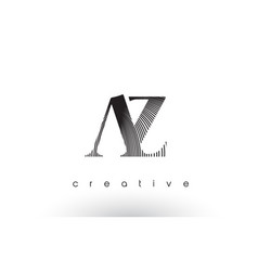 Az logo design with multiple lines and black vector