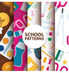Back to school supplies seamless pattern vector