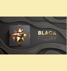 black friday banner with black giftbox decorated vector image