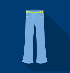 Blue jeans with a belthippy single icon in flat vector