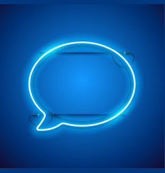 blue neon speach bubble vector image