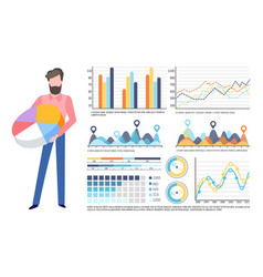 businessman holding pie diagram infocharts set vector image