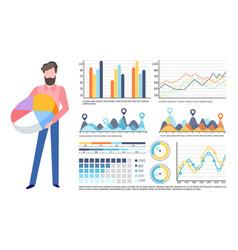 Businessman holding pie diagram infocharts set vector