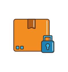 cardboard box padlock security cargo delivery line vector image
