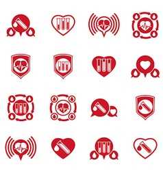 Cardiology and blood transfusion icons set vector image