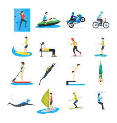 cartoon extreme sports people set vector image