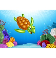 Cartoon funny turtle with beautiful underwater vector