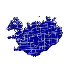 colored iceland map vector image