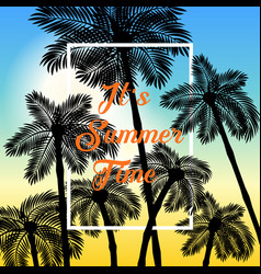 colorful poster palm summer background eps10 vector image