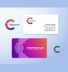 cooperation abstract logo and business card vector image