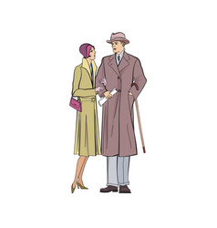 Couple outdoor man and woman in outerwear dress vector