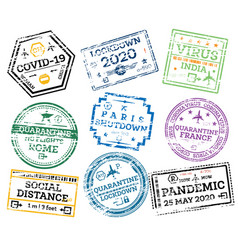 covid19-19 collection grunge passport stamps vector image