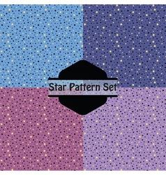cute golden stars pattern set in pink purple and vector image