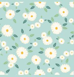 Cute white daisy flower seamless pattern on blue vector