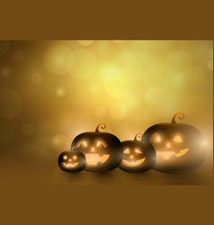 Dark cute halloween pumpkins and bokeh background vector