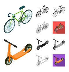 different types of transport cartoonblackflat vector image