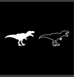 dinosaur tyrannosaurus t rex icon set white color vector image