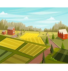 Farm fresh rural landscape with farmhouse vector
