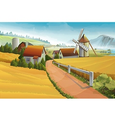 Farm rural landscape background vector image
