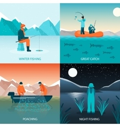 Fishing 2x2 Design Concept vector image