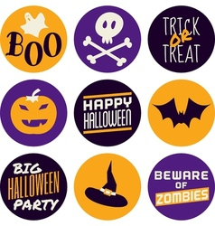 Flat design halloween icons in purple and yellow vector