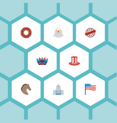 flat icons doughnut stamp usa hat and other vector image