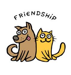 friendship dog kik and cat tik best friends vector image vector image