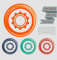gear cog icon on the red blue green orange vector image