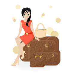 Girl traveler vector