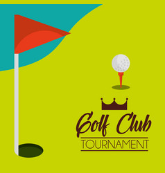golf club tournament course and red flag vector image