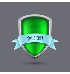 Green metal shield on gray background vector image