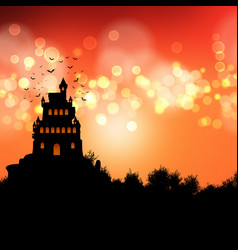 halloween background with spooky castle landscape vector image