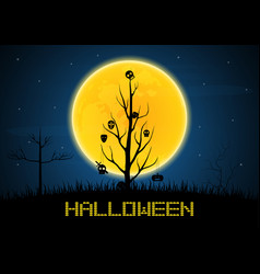 Halloween mask hang on wither tree vector