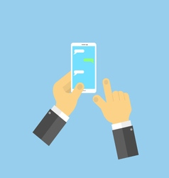 Hands with mobile phone SMS chat vector image