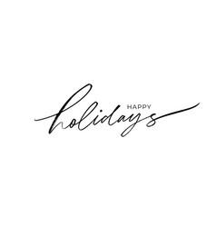happy holidays modern brush calligraphy vector image