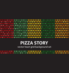 heart pattern set pizza story seamless vector image