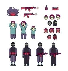 Icon set men women terrorist and victim vector
