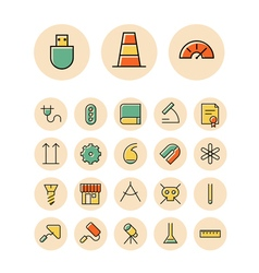 Icons thin red science industrial vector