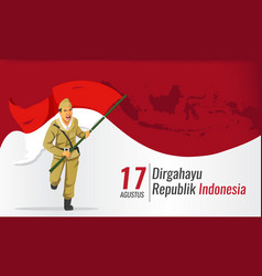 Indonesia independence day banner with hero vector