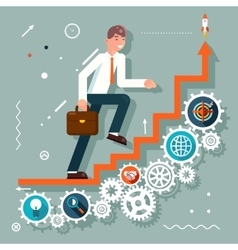 Infographic Ladder Stairs Businessman Goes to vector