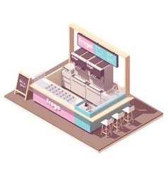 Isometric frozen yogurt kiosk vector