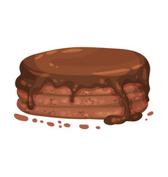 Laminated chocolate cake on a vector