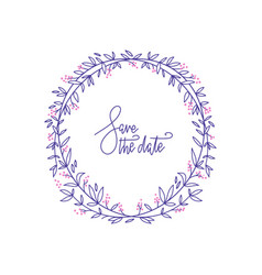 lavender color flowers decorative wreath with hand vector image