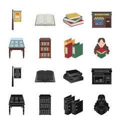 library and bookstore blackcartoon icons in set vector image