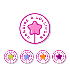 logo sweets cookies shop lollipop star vector image
