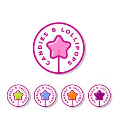 Logo sweets cookies shop lollipop star vector