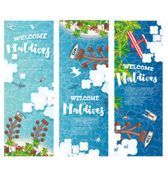 maldives beach on island vertical banners set vector image