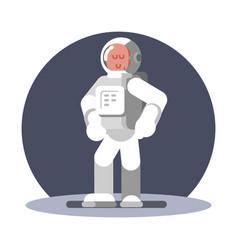 man cosmonaut in helmet standing vector image